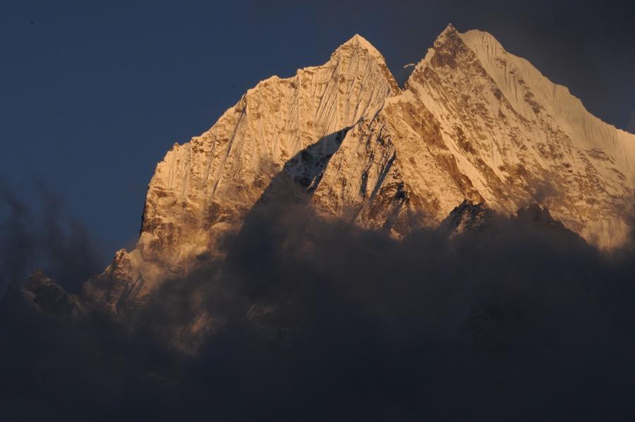 Thamserku Mountain Sunset