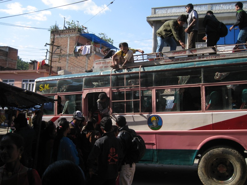kathmandu soti khola local bus for manaslu circuit trek